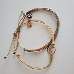 Pura Vida bracelet pair beige wave multi color